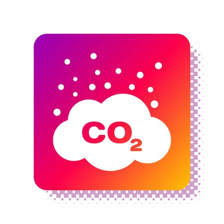 White CO2 emissions in cloud icon isolated on white background. Carbon dioxide formula symbol, smog pollution concept, environment concept. Square color button. Vector Illustration