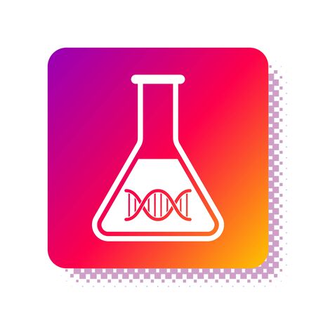 White DNA research, search icon isolated on white background. Genetic engineering, genetics testing, cloning, paternity testing. Square color button. Vector Illustration Ilustrace