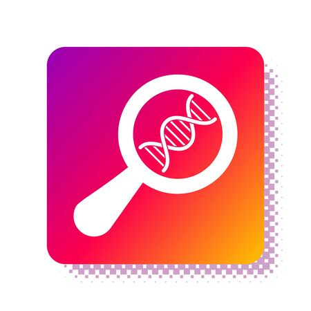 White DNA research, search icon isolated on white background. Magnifying glass and dna chain. Genetic engineering, cloning, paternity testing. Square color button. Vector Illustration