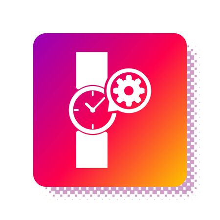 White Wrist watch and gear icon isolated on white background. Adjusting app, service concept, setting options, maintenance, repair, fixing. Square color button. Vector Illustration