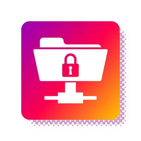White FTP folder and lock icon isolated on white background. Concept of software update, ftp transfer protocol. Security, safety, protection concept. Square color button. Vector Illustration Stok Fotoğraf - 133961961