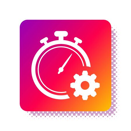 White Time Management icon isolated on white background. Clock and gear sign. Productivity symbol. Square color button. Vector Illustration