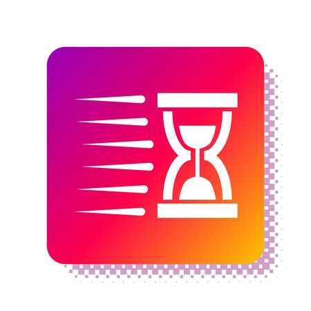 White Old hourglass with flowing sand icon isolated on white background. Sand clock sign. Business and time management concept. Square color button. Vector Illustration Illusztráció