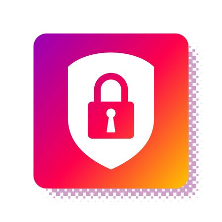 White Shield security with lock icon isolated on white background. Protection, safety, password security. Firewall access privacy sign. Square color button. Vector Illustration Stok Fotoğraf - 133961493