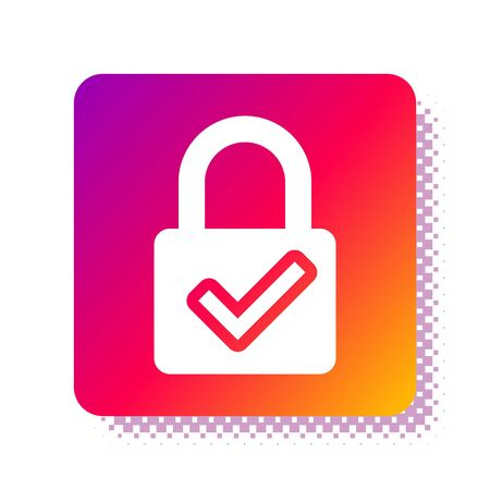 White Open padlock and check mark icon isolated on white background. Cyber security concept. Digital data protection. Safety safety. Square color button. Vector Illustration