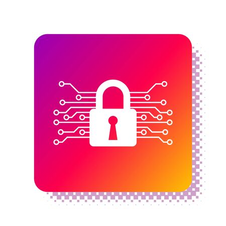 White Cyber security icon isolated on white background. Closed padlock on digital circuit board. Safety concept. Digital data protection. Square color button. Vector Illustration