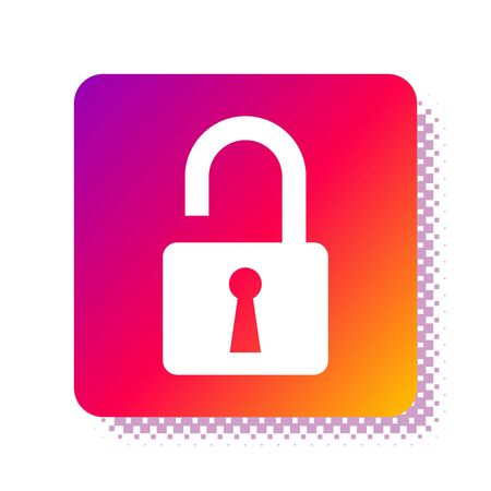 White Open padlock icon isolated on white background. Opened lock sign. Cyber security concept. Digital data protection. Safety safety. Square color button. Vector Illustration Çizim