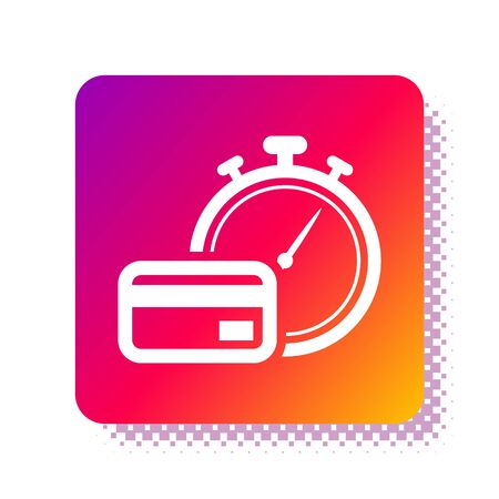 White Fast payments icon isolated on white background. Fast money transfer payment. Financial services, fast loan, time is money, cash back concept. Square color button. Vector Illustration Illusztráció