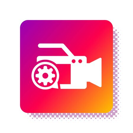 White Video camera and gear icon isolated on white background. Adjusting app, service concept, setting options, maintenance, repair, fixing. Square color button. Vector Illustration Illustration