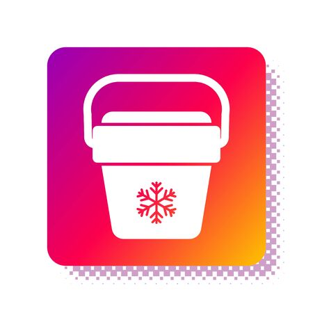 White Cooler bag icon isolated on white background. Portable freezer bag. Handheld refrigerator. Square color button. Vector Illustration