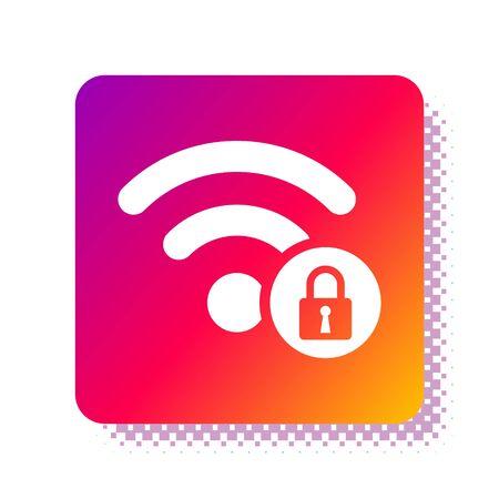White Wifi locked sign icon isolated on white background.