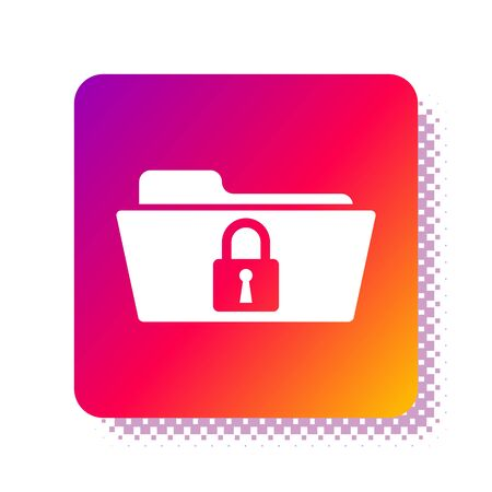 White Folder and lock icon isolated on white background. Closed folder and padlock. Security, safety, protection concept. Square color button. Vector Illustration Stok Fotoğraf - 133961307