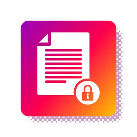 White Document and lock icon isolated on white background. File format and padlock. Security, safety, protection concept. Square color button. Vector Illustration Stok Fotoğraf - 133961533