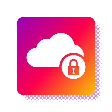 White Cloud computing lock icon isolated on white background. Security, safety, protection concept. Square color button. Vector Illustration