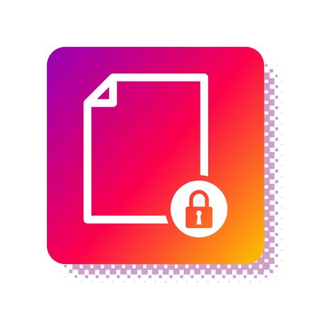 White Document and lock icon isolated on white background. File format and padlock. Security, safety, protection concept. Square color button. Vector Illustration Stok Fotoğraf - 133961310