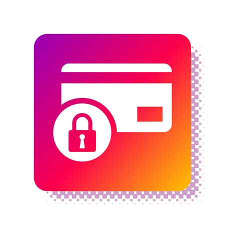 White Credit card with lock icon isolated on white background. Locked bank card. Security, safety, protection concept. Concept of a safe payment. Square color button. Vector Illustration Stok Fotoğraf - 133961212