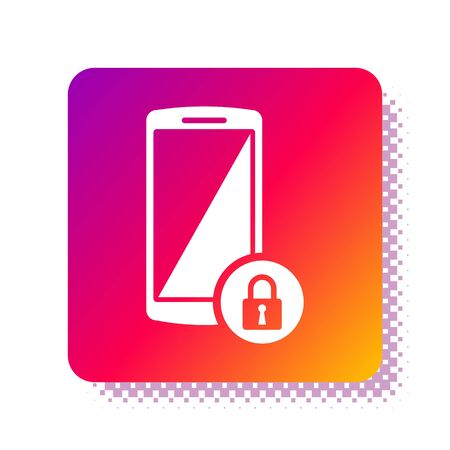 White Smartphone with closed padlock icon isolated on white background. Phone with lock. Mobile security, safety, protection concept. Square color button. Vector Illustration Stok Fotoğraf - 133961214