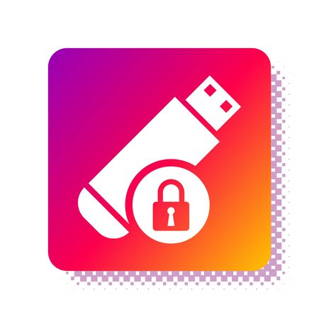 White USB flash drive with closed padlock icon isolated on white background. Security, safety, protection concept. Square color button. Vector Illustration