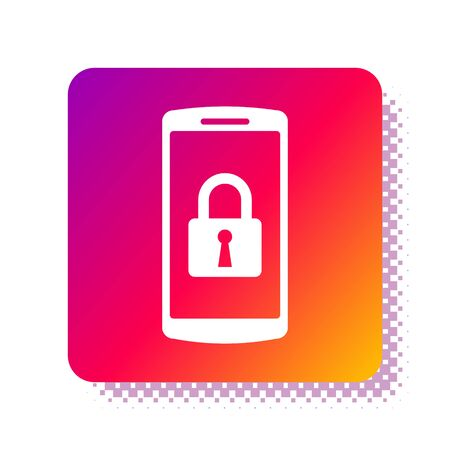 White Smartphone with closed padlock icon isolated on white background. Phone with lock. Mobile security, safety, protection concept. Square color button. Vector Illustration