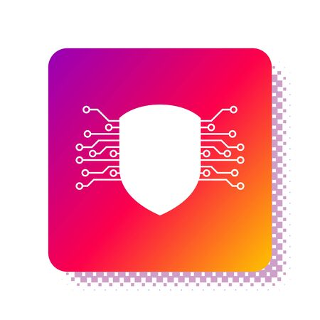 White Cyber security icon isolated on white background. Shield sign. Safety concept. Digital data protection. Square color button. Vector Illustration Çizim