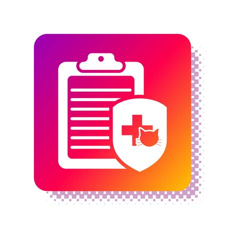 White Clipboard with medical clinical record pet icon isolated on white background. Health insurance form. Medical check marks report. Square color button. Vector Illustration