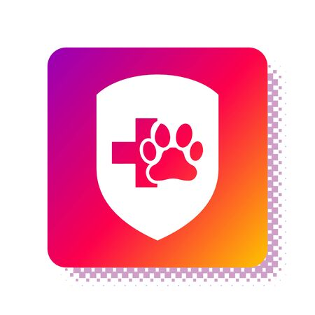 White Animal health insurance icon isolated on white background. Pet protection icon. Dog or cat paw print. Square color button. Vector Illustration