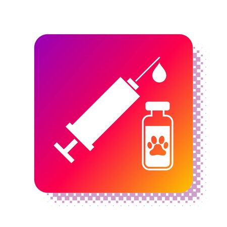 White Syringe with pet vaccine icon isolated on white background. Dog or cat paw print. Square color button. Vector Illustration Illustration