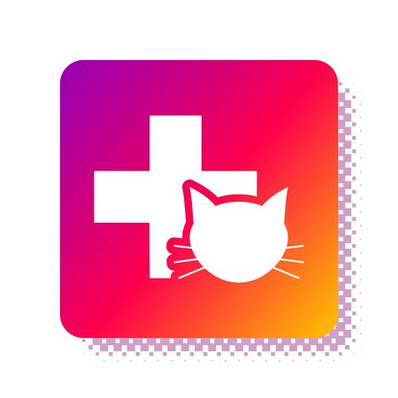 White Veterinary clinic symbol icon isolated on white background. Cross with cat veterinary care. Pet First Aid sign. Square color button. Vector Illustration 일러스트