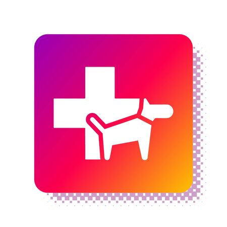 White Veterinary clinic symbol icon isolated on white background. Cross with dog veterinary care. Pet First Aid sign. Square color button. Vector Illustration