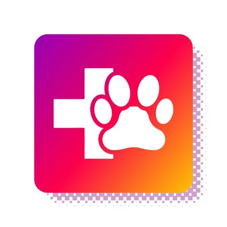White Veterinary clinic symbol icon isolated on white background. Cross hospital sign. A stylized paw print dog or cat. Pet First Aid sign. Square color button. Vector Illustration