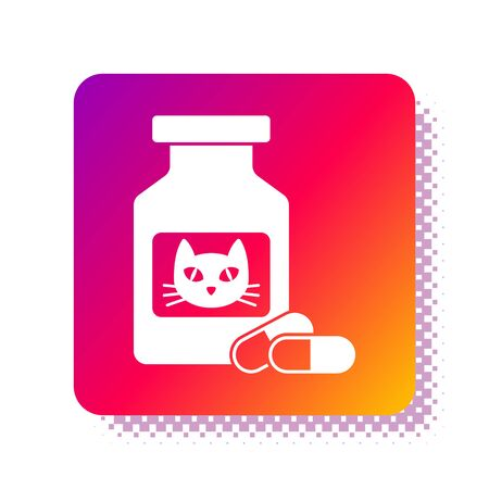 White Cat medicine bottle and pills icon isolated on white background. Container with pills. Prescription medicine for animal. Square color button. Vector Illustration Illustration