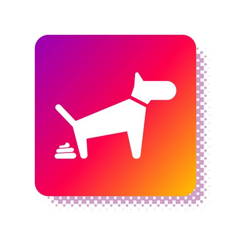 White Dog pooping icon isolated on white background. Dog goes to the toilet. Dog defecates. The concept of place for walking pets. Square color button. Vector Illustration