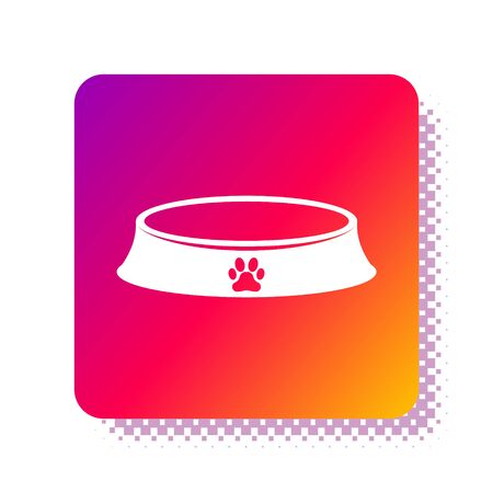 White Pet food bowl for cat or dog icon isolated on white background. Dog or cat paw print. Square color button. Vector Illustration
