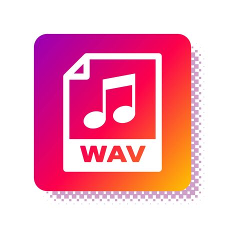 White WAV file document. Download wav button icon isolated on white background. WAV waveform audio file format for digital audio riff files. Square color button. Vector Illustration
