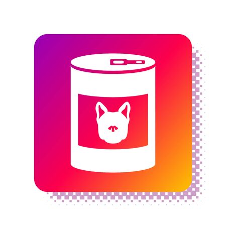White Canned food for dog icon isolated on white background. Food for animals. Pet dog food can. Square color button. Vector Illustration