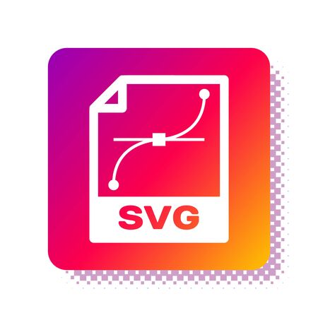 White SVG file document. Download svg button icon isolated on white background. SVG file symbol. Square color button. Vector Illustration  イラスト・ベクター素材