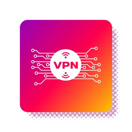White VPN in circle with microchip circuit icon isolated on white background. Square color button. Vector Illustration Illustration