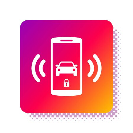 White Smart car alarm system icon isolated on white background. The smartphone controls the car security on the wireless. Square color button. Vector Illustration Vectores