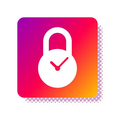 White Padlock with clock icon isolated on white background. Time control concept. Lock and countdown, deadline, schedule, planning symbol. Square color button. Vector Illustration Çizim
