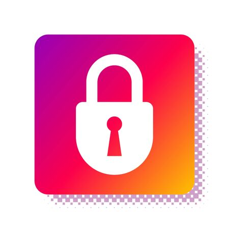White Lock icon isolated on white background. Padlock sign. Security, safety, protection, privacy concept. Square color button. Vector Illustration Stok Fotoğraf - 133957730