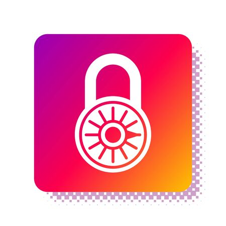 White Safe combination lock wheel icon isolated on white background. Combination padlock. Security, safety, protection, password, privacy. Square color button. Vector Illustration