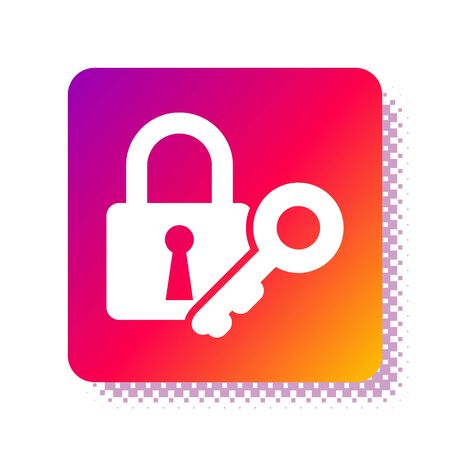 White Lock and key icon isolated on white background. Padlock sign. Security, safety, protection, privacy concept. Square color button. Vector Illustration Stok Fotoğraf - 133957737