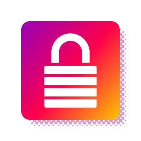 White Lock icon isolated on white background. Padlock sign. Security, safety, protection, privacy concept. Square color button. Vector Illustration Stok Fotoğraf - 133957739