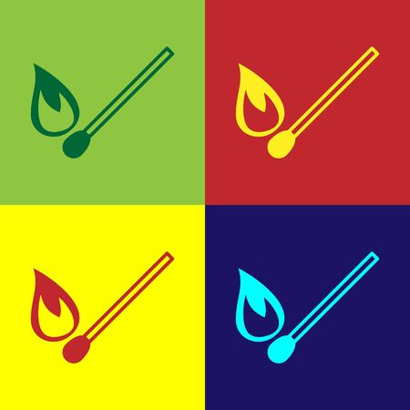 Color Burning match with fire icon isolated on color background. Match with fire. Matches sign. Vector Illustration