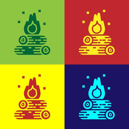 Color Campfire icon isolated on color background. Burning bonfire with wood. Vector Illustration Illusztráció