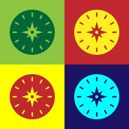 Color Compass icon isolated on color background. Windrose navigation symbol. Wind rose sign. Vector Illustration Ilustracja