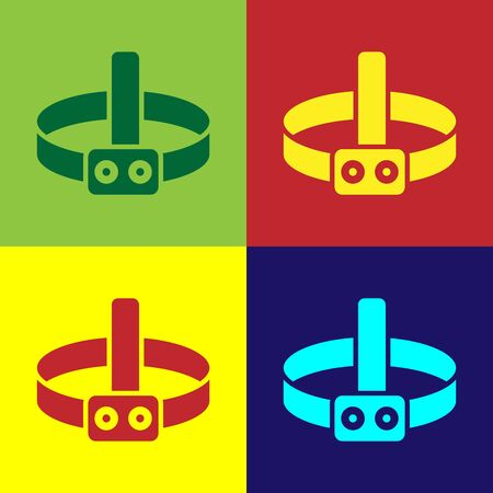 Color Head flashlight icon isolated on color background. Tourist head flashlight. Camping head light. Vector Illustration Illusztráció