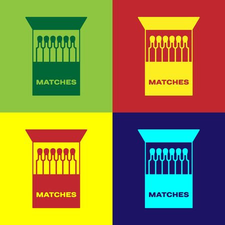 Color Open matchbox and matches icon isolated on color background. Vector Illustration