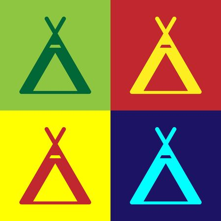 Color Tourist tent icon isolated on color background. Camping symbol. Vector Illustration Illusztráció