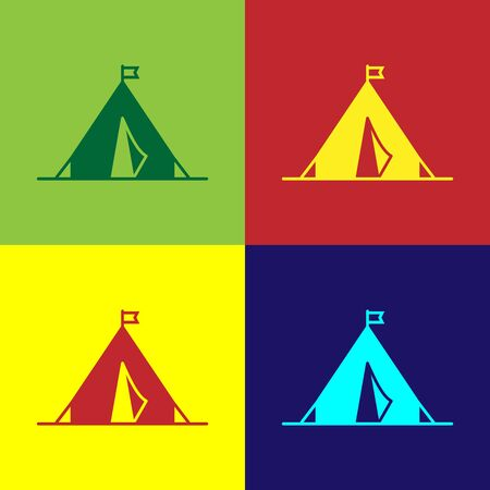 Color Tourist tent with flag icon isolated on color background. Camping symbol. Vector Illustration